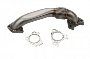 "Turbo Chargers & Components - Intercoolers and Pipes - 2"" Stainless Single Turbo Style Passenger Side Up Pipe for OEM Manifolds with Gaskets"