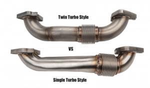 "Turbo Chargers & Components - Up Pipes - Wehrli Custom Fabrication - 2001-2016 DURAMAX 2"" STAINLESS TWIN TURBO STYLE PASS SIDE UP PIPE FOR OEM MANIFOLD WITH GASKETS"