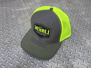 Gear & Apparel - Hats - Wehrli Custom Fabrication - Wehrli Custom Fabrication Snap Back Hat Charcoal/Fluorescent Green Badge